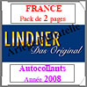 FRANCE - Pack 2008 - Timbres Autocollants (T132/06SA) Lindner